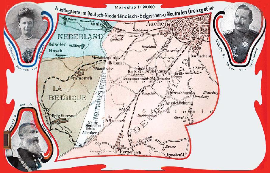 Postkarte des Neutralen Gebiets Moresnet, um 1900