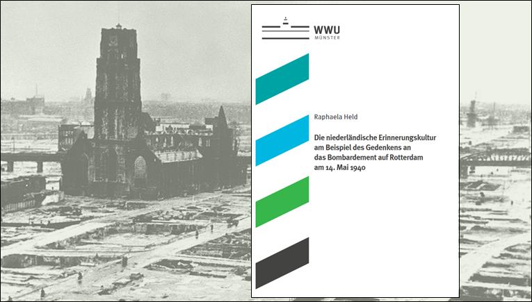 Buchcover mit Hintergrund Rotterdam Laurenskerk, nach der Bombardierung 1940