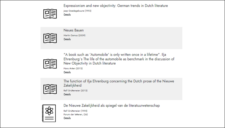Screenshot Trefferliste Literaturdatenbank